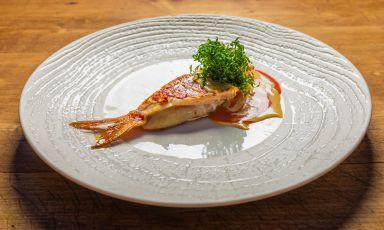 Triglia arrosto alla salentina,pomodoro,bottarga e cicorie fritte: il piatto dell'estate di Ippazio Turco(tutte le foto sono di Daniele Met)