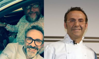 Massimo Bottura in the car with Andrea Grignaffini