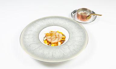 Merluzzo di coffa, zucca, mozzarella di bufala e aceto affumicato: la ricetta dell'autunno di Domenico Stile