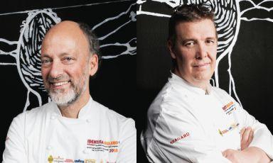 Moreno Cedroni, a sinistra, e Alessandro Gilmozzi: i due chef saranno a Milano il 21 maggio e l'11 giugno per due cene organizzate da Identità Golose al Ratanà.Il prezzo delle due cene sarà di 75€ a persona, vini inclusi. Per prenotazioni800.825.144 -numero attivo da lunedì a venerdi dalle ore 9.30 alle ore 18.00