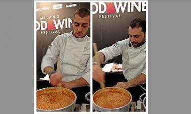 I fratelli Manuel e Christian Costardi del ristorante Cinzia di Vercelli rimestano ilCostardi's tomato rice, omaggio a Andy Warhol, tra gli assaggi che hanno sbancato al terzo giorno del Milano Food and Wine Festival