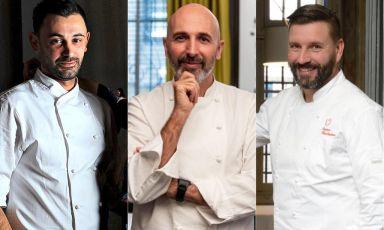 Tanti produttori di eccellenza e tre importanti chef (nella foto Simone Breda, Ivano Ricchebono e Andrea Ribaldone): la proposta di Identità Golose per una pausa golosa al Salone del Risparmio di Milano