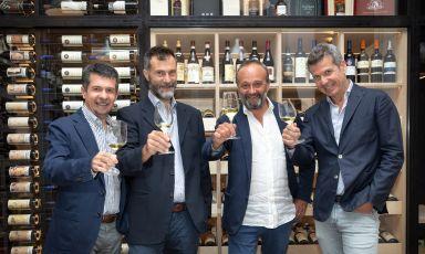 Da sinistra:Massimo Cassamagnaga, Alberto Cristofori, Federico Pedrazzi, Fabrizio Cimiotta di Wine Tip