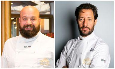 I due protagonisti del lancio del Delivery d'Autore di Identità Golose Milano: da sinistra, Domingo Schingaro e Luigi Taglienti
