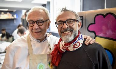 Alain Ducasse and Massimo Bottura in a photo ta