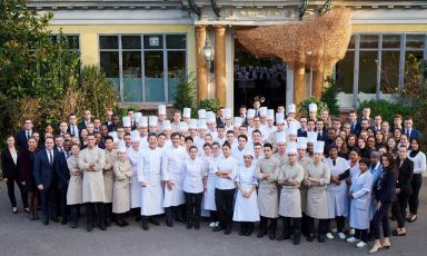 The complete team from Yannick Alléno's Pavillon Ledoyen in Paris: three restaurants, two stars (three for Alléno Paris, two for L'Abysse, one for the new Pavyllon, which we visited)