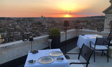 Sunset from the terrace of Imago Restaurant atHa
