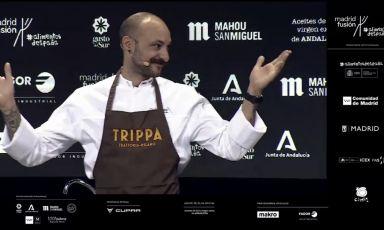 Dopo il primo intervento made in Italy di Davide Caranchini, Diego Rossi presenta la sua visione di gastronomia circolare al pubblico di Madrid Fusión