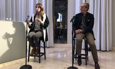 Valeria Margherita Mosca, forager e fondatrice di Wooding Food Lab e Marco Bay, architetto paesaggista,a Identità Golose Milano martedì sera scorso