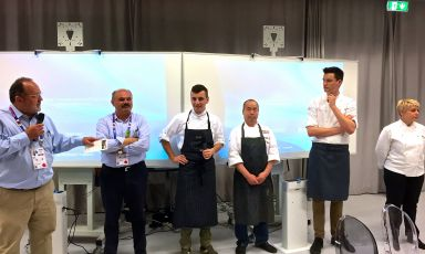 The team: Paolo Marchi, Oscar Farinetti, Michele Biassoni, Haruo Ichikawa, Enrico Panero and Barbara Scabin