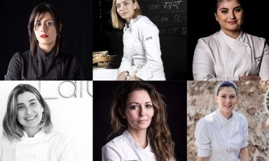 Sei donne chef, sei cuoche che illuminano il Salento. Da in alto a sinistra, in esenso orario: Valentina Rizzo, Isabella Potì, Solaika Marrocco, Cristina Conte, Alessandra Civilla e Chiara Murra