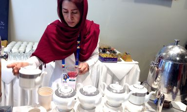 Green tea, lavender, cinnamon tea. These are some of the hot drinks you can taste inside Iran's pavilion at Expo, together with popular traditional dishes, many based on rice, vegetables and saffron