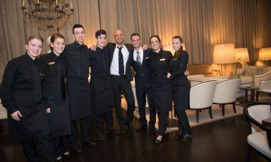 Roman Enrico Camelio, born in 1971, with his guys at Majestic. He's a teacher at the Pellegrino Artusi Catering School in Rome and a fine dining consultant