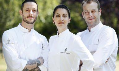 Da sinistra:Marco Summonte,Francesca AcquavivaeAndrea Bistaffa. La squadra che gestisce Lo Gnomo Gelato a Milano