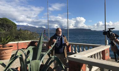 Paolo Marchi on the terrace of the parking of Lido 84, the restaurant of Riccardo and Giancarlo Camanini in Gardone Riviera (Brescia)