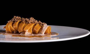 Tagliatelle, ragù d'anatra e foie gras di Andrea Monesi, chef della Locanda di Orta a Orta San Giulio (Novara). foto instagram