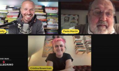 Il moderatore Marco Montemagno, il giornalista Paolo Marchi e la cuoca Cristina Bowerman, protagonisti del Food Talks by S.Pellegrino, giorno 4