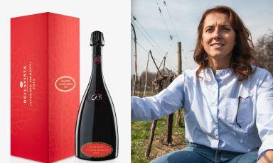 La nuova Bellavista Riserva Vittorio Moretti 2013 e FrancescaMoretti, figlia di Vittorio, patron della cantina di Erbusco (Brescia)