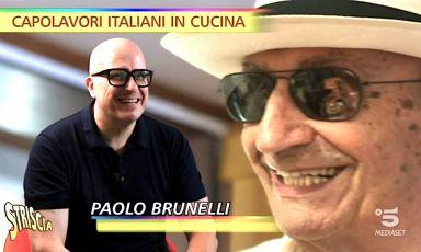 Due generazioni di Brunelli in un curioso fermo immagine della puntata di Capolavori italiani in cucina dedicata al mondo dolce di Paolo, maestro gelatiere tra Agugliano e Senigallia nella Marche. Con il panama suo padre Romeo