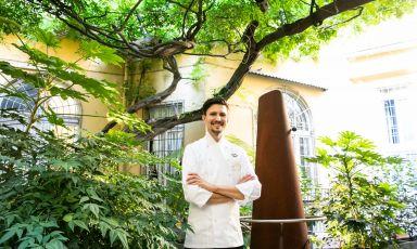 Paolo Griffa nel cortile interno di via Romagnosi 3