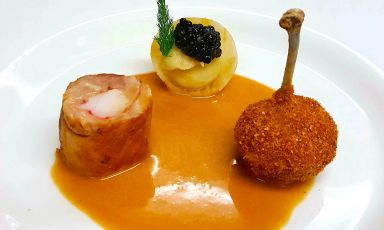 Tre Elementi: il piatto del 2021 di Massimiliano Caprettadel ristorante Arca di Alba Adriatica (Teramo)