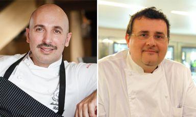 Da sinistra,Andrea Ribaldone, chef del ristorante I Due Buoi di Alessandria e Paolo Barrale, siciliano ma al timone da anni del ristorante Marennà di Sorbo Serpico (Avellino), una stella Michelin. Il loro menu a 4 mani, fissato a Identità Expo S.Pellegrinoper la cena di sabato 5 settembreal costo di 75 euro (vini inclusi), si prenota a expo@magentabureau.it oppure telefonando a +39.02.62012701