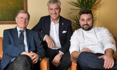 Romano e Roberto Franceschini con Nicola Gronchi che porterà a Identità Golose Milano la cucina di un posto unico come Romano di Viareggio