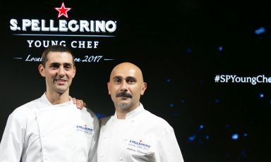 Edoardo Fumagalli, the Italian finalist in the S.Pellegrino Young Chef 2018, with mentor Anthony Genovese