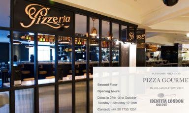 """Dal sito di Harrods, l'annuncio di Pizza Gourmet, """"in collaboration with Identità Golose London"""". Appuntamento da martedì 27 a sabato 31 ottobre, ovviamente a Londra"""