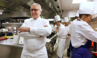 Alain Ducasse, 62, in the kitchen of his restauran