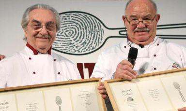 Pierre Troisgros con Gualtiero Marchesi a Identità Golose 2007