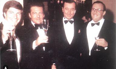 Un poker di grandi italiani della ristorazione e nel vino una sera a Le Cirque. Da sinistra, Piero Selvaggio, Ludovico Antinori, Sirio Maccioni e Maurizio Zanella