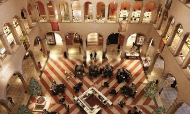 Dall'alto, la vista della bellissima location di Amo, il ristorante che la famiglia Alajmo ha recentemente aperto a Venezia