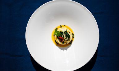 """Spaghettone di Gragnano al """"pomodoro in bianco"""", crema di datterino giallo e perle di basilico: la ricetta estiva di Marco DelSorbo"""