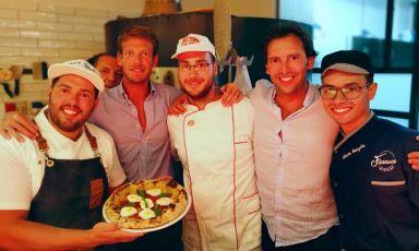La squadra di Funnaco PizzaLab, a Palermo. Nella foto si riconoscono Roberto Spinelli, Francesco Riina, Pietro Crivello, Umberto Giglio eAlberto Manzella