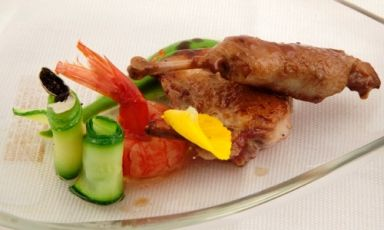 Quail, Birra Moretti Grand Cru, red prawns and cou