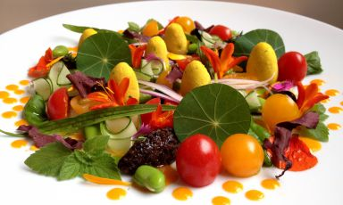 I Giardini, i campi e il mare [The gardens, the fields and the sea] the colourful summer salad by vegan chef Daniela Cicioni: herbs, vegetables, flowers, raw fish and lupin beans
