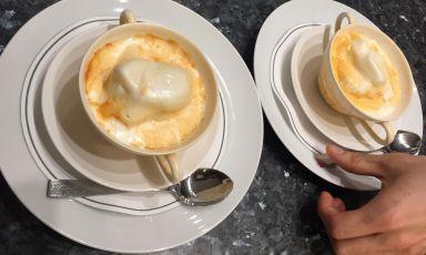 Fiordilatte gelato browned by smoking rosemary. A