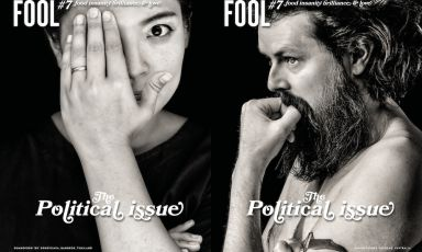 The two covers of Fool magazine #7, published in a double version: the cover with BoSongvisavaofBo.lanin Bangkok and the one with Aaron Turnerof Igni,Australia. Published in Sweden, written in English,you can order it onlinefor 23.59 euros (limited edition, 3,000 copies)