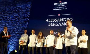 """Alessandro Bergamo, sous-chef del ristorante Cracco in Galleriadi Milano, vincitore della finale regionale """"Italy and South Eastern Europe"""" del concorso S.Pellegrino Young Chef, tenutasiieri a Milano"""