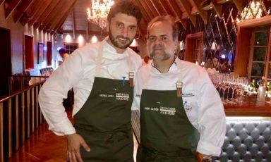 Andrea ApreaconHarry Sasson, importante cuoco colombiano. Lochef del ristorante Vun del Park Hyattha chiuso da pocouna trasferta di 5 giorni a Bogotà, invitato daFundacion Corazon VerdeeBasque Culinary Center