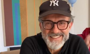 Massimo Bottura, in a frame from one of the many live videos shared on his Instagram account