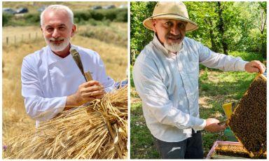 Lo chef Pasquale Caliri, a sinistra, e l'apicoltore Giacomo Emanuele