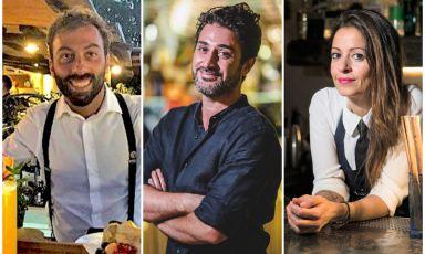 Da sinistra,Raffaele Caruso, Christian Sciglio eSonja Scrudato. I tre bartender, rispettivamente del Signum di Salina, del Morgana di Taormina e del Bocum di Palermo, ci guidano nella preparazione di altrettanti cocktail, da fare a casa sognando la loro Sicilia