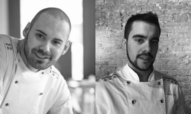 """David Gil and Ruben González, chefs at elBarri, Ferran and Albert Adrià's project in Barcelona """"uniting gastronomy and business vision"""".The two young Catalans will be among the speakers at Identità di Caffè, a whole day, on Monday 7th March, created in collaboration with Lavazza to analyse the new horizons for coffee in cooking"""
