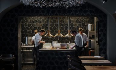 The open view kitchen at La Degustation Bohëme bourgeoise, in Haštalká 18, +420222311234, one Michelin star since 2012 (photo ladegustation.cz)
