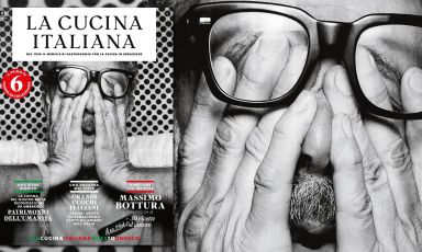 The cover of the July issue of La Cucina Italiana. The portrait of Massimo Bottura was taken by French artist JR