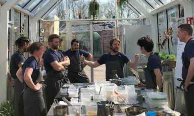 The test kitchen at Noma in Copenhagen, which opened in a new location last February. Third from the right, Renè Redzepi, 40, patron chef. Third from the left, Paduan Riccardo Canella, 33 (the photos for this piece are taken from the Instagram accounts of reneredzepi, nomacph, mette_soberg,torstenvildgaard)