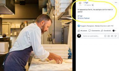 Un post con foto dal profilo Facebook de I Tigli: Simone Padoan lavora,da solo. Con le mani, per l'Impasto; con la testa, per progettare il futuro