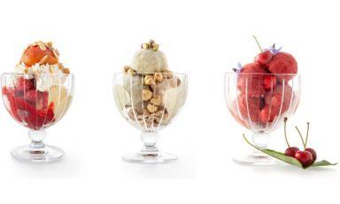 Tre dei dodici gelati messi a punto dalla squadra di Antica Corona Reale